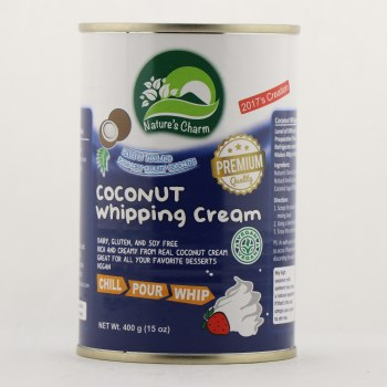 Nature's Charm Coconut Whipping Cream Dairy, Gluten, and Soy Free, Vegan, Rich and Creamy From Real Coconut Cream 15 oz