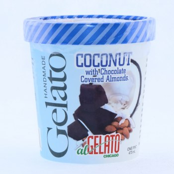 Handmade Coconut with Chocolate Covered Almonds Gelato  1 pint