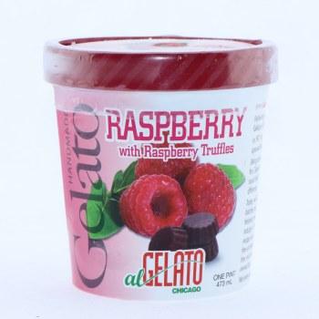 Handmade Raspberry Gelato with Raspberry Truffles  1 pint