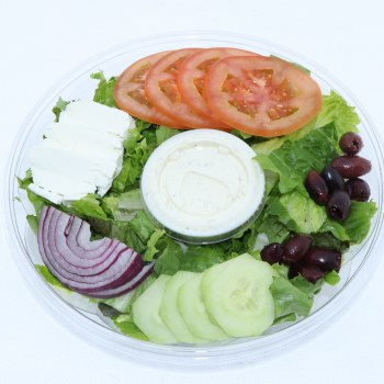 Harvestimes Fresh Home Made Salad with Romaine Lettuce Cucumber Onion Tomato Cheese Olives and Your Choice of Ranch or Italian Dressing