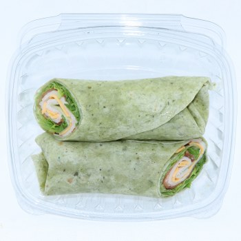 Harvestime's Homemade Boar's Head Turkey Wraps with Flour Tortilla, Boar's Head Oven Roasted Turkey, Boar's Head Vermond Cheddar Cheese, Romaine Lettuce, Tomatoes and Mayo 1 pc