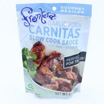 Frontera Garlic Pork Carnitas Slow Cook Sauce with Lime and Chipotle  8 oz