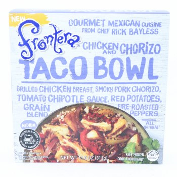 Frontera Chicken  Chorizo Taco Bowl Grilled Chicken Breast Smoky Pork Chorizo Tomato Chipotle Sauce Red Peppers Grain Blend and Fire Roasted Peppers Medium Heat All Natural  11 oz