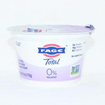 Fage Total 0% Milk Fat, All Natural, Non Fat Greek, Strained Yogurt, Non Added Sugar, Non GMO 6 oz