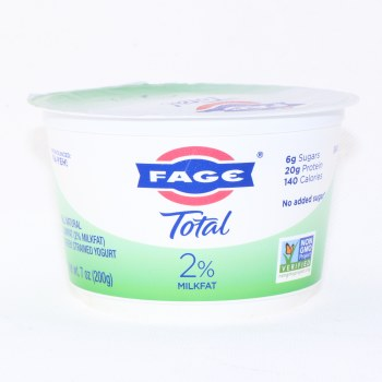 Fage Total 2% Milk Fat, All Natural, Low Fat, Greek Strained Yogurt, No Added Sugar, Non GMO 7 oz