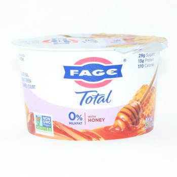Fage Total 0% Milk Fat Yogurt with Honey, All Natural, Non Fat Greek, Strained Yogurt, Non GMO 5.3 oz
