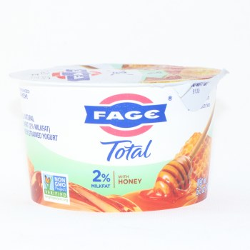 Fage Total 2Per Cent Milk Fat Yogurt  with Honey  All Natural  Greek Strained Yogurt  Non GMO 5.3 oz
