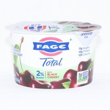 Fage Total 2Per Cent Milk Fat Yogurt with Black Cherry  All Natural  Low Fat  Greek Strained Yogurt  Non GMO 5.3 oz