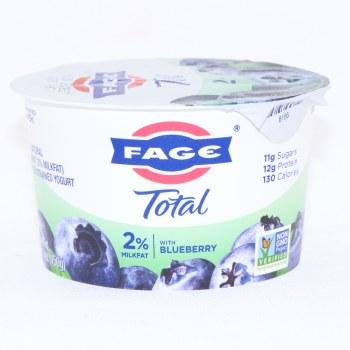 Fage Total 2% Milk Fat Yogurt with Blueberry, All Natural, Low Fat, Greek Strained Yogurt, Non GMO 5.3 oz
