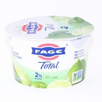 Fage Total 2% Milk Fat Yogurt with Key Lime, All Natural, Low Fat, Greek Strained Yogurt, Non GMO 5.3 oz