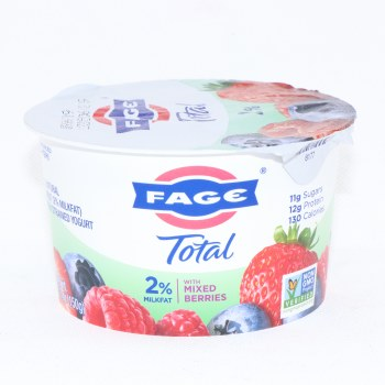 Fage Total 2% Milk Fat Yogurt with Mixed Berries, All Natural, Low fat, Greek Strained Yogurt, Non GMO 5.3 oz