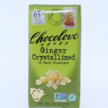 Chocolove Ginger Crystallized in Dark Chocolate, NON GMO, 65% Cocoa 3.2 oz