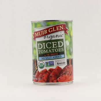 Muir Glen diced tomatoes no salt  14.5 oz