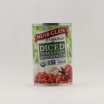 Muir Glen organic diced tomatoes garlic onions 14.5 oz