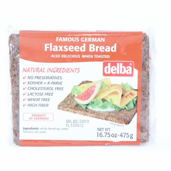 Delba Famous Flaxseed Bread made with Natural Ingredients No Preservatives Kosher Cholesterol Free Lactose Free Wheat Free and High in Fiber  16.75 oz