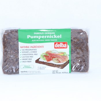 Delba Famous German Pumpernickle Bread made with Natural Ingredients No Preservatives Kosher Cholesterol Free Lactose Free Wheat Free and High in Fiber  16.75 oz