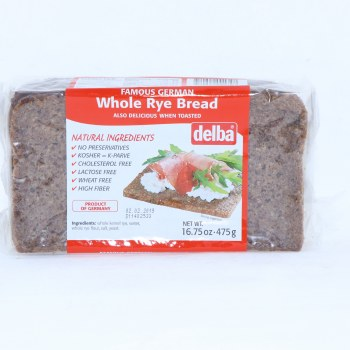 Delba Famous German Whole Rye Bread made with Natural Ingredients No Preservatives Kosher Cholesterol Free Lactose Free Wheat Free and High in Fiber  16.75 oz