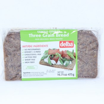 Delba Famous German Three Grain Bread made with Natural Ingredients No Preservatives Kosher Cholesterol Free Lactose Free Wheat Free and High in Fiber  16.75 oz