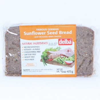 Delba Famous German Sunflower Seed Bread made with Natural Ingredients No Preservatives Kosher Cholesterol Free Lactose Free Wheat Free and High in Fiber  16.75 oz
