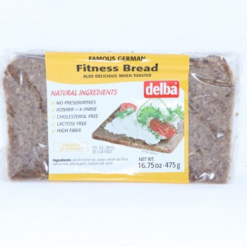 Delba Famous German Fitness Bread made with Natural Ingredients No Preservatives Kosher Cholesterol Free Lactose Free and High in Fiber  16.75 oz