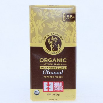 Equal Exchange Dark Chocolate Almond Toasted Pieces, USDA Organic, 55% Cocoa 2.8 oz