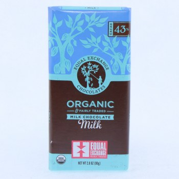 Equal Exchange Milk Chocolate, USDA Organic, 43% Cocoa 2.8 oz
