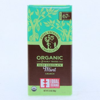 Equal Exchange Dark Chocolate Mint Crunch, USDA Organic, 67% Cocoa 2.8 oz