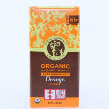 Equal Exchange Dark Chocolate Orange Infused, USDA Organic, 65% Cocoa 2.8 oz