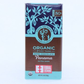 Equal Exchange Dark Chocolate Panama Extra Dark USDA Organic 80Per Cent Cocoa 2.8 oz