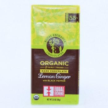 Equal Exchange Dark Chocolate Lemon Ginger with Black Pepper USDA Organic 55Per Cent Cocoa 2.8 oz