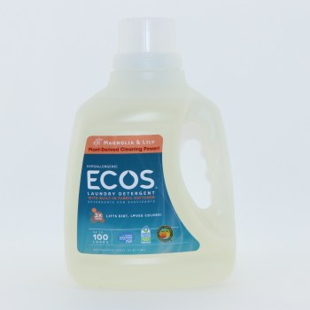 Earth Friendly Ecos Magnolia  and  Lily Hypoallergenic Detergent with Built In Fabric Softener 2x Ultra Lifts Dirt Loves Colors Up to 100 Loads 100 oz