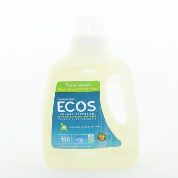 Earth Friendly Ecos Lemongrass Hypoallergenic Detergent with Built-In Fabric Softener, 2x Ultra Lifts Dirt, Loves Colors, Up to 100 Loads 100 oz