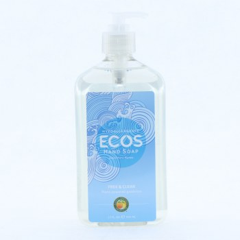 Ecos Hypoallergenic Hand Soup Free  and  Clear Scent  17 oz