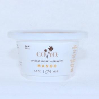 Coyo Coconut Yogurt Alternative  Mango Flavor  Live Cultures  Non GMO  Gluten Free  No Added Sugar  Vegan  Gum Free  53 oz 5.3 oz