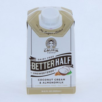 Califia Unsweetened Better Half Coconut Cream  and  Almondmilk Dairy Free Carrogeenan Free Soy Free NON GMO  16.9 oz