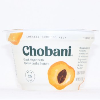 Chobani 2Per Cent Milk Fat Greek Yogurt with Apricot on the Bottom No Fake Fruit No Artificial Sweeteners No Preservatives No GMO Ingredients No Gluten No rBST Low Fat
