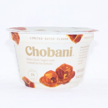 Chobani 2Per Cent Milk Fat Sweet Greek Yogurt with Caramel on the Bottom No Artificial Flavors No Artificial Sweeteners No PreservativesNo GMO Ingredients No Gluten No rBST Low Fat