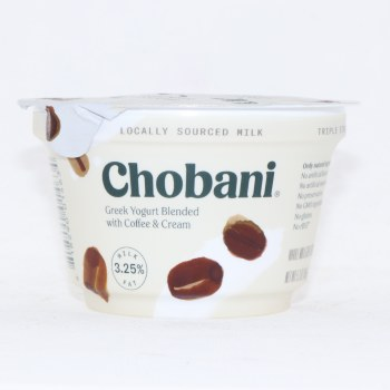 Chobani 3.25% Milk Fat, Greek Yogurt Blended with Coffee & Cream, No Artificial Flavors, No Artificial Sweeteners, No Preservatives, No GMO Ingredients, No Gluten, No rBST, Whole Milk 5.3 oz