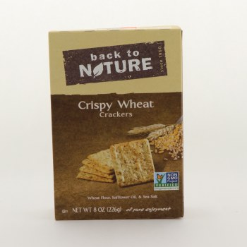 Back to Nature Crispy Wheat Crackers NON GMO  and  Contains Wheat Flour Safflower Oil  and  Sea Salt