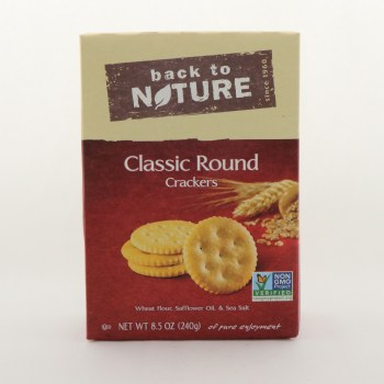 Back to Nature Classic Round Crackers NON GMO  and  Contains Wheat Flour Safflower Oil  and  Sea Salt 8.5 oz