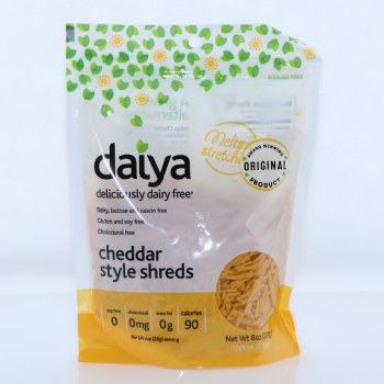 Daiya Original Cheddar Style Shreds Dairy Lactose and Casein Free Gluten and Soy Free Cholesterol Free 8 oz