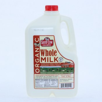 Sassy Cow Organic Whole Milk, Gallon 1 GL