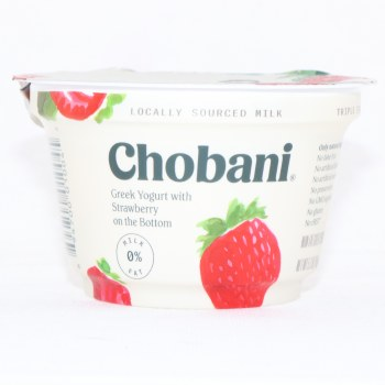 Chobani 0% Milk Fat, Greek Yogurt with Strawberry on the Bottom, No Fake Fruit, No Artificial Flavors, No Artificial Sweeteners, No Preservatives, No GMO Ingredients, No Gluten, No rBST,  Non Fat 5.3 oz