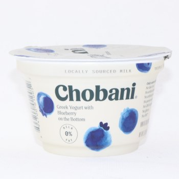 Chobani 0% Milk Fat, Greek Yogurt with Blueberry on the Bottom, No Fake Fruit, No Artificial Flavors, No Artificial Sweeteners, No Preservatives, No GMO Ingredients, No Gluten, No rBST, Non Fat 5.3 oz