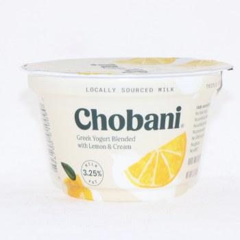 Chobani 3.25 Milk Fat, Greek Yogurt Blended wih Lemon & Cream, No Fake Fruit, No Artificial Flavors, No Artificial Sweeteners, No Preservatives, No GMO Ingredients, No Gluten, No rBST, Low Fat 5.3 oz