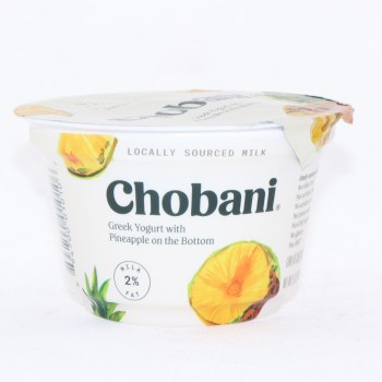 Chobani 2% Milk Fat, Greek Yogurt with Pineapple on the Bottom, No Fake Fruit, No Artificial Flavors, No Artificial Sweeteners, No Preservatives, No GMO Ingredients, No Gluten, no rBST, Low Fat 5.3 oz