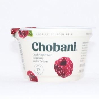 Chobani 0% Milk Fat, Greek Yogurt wih Raspberry on the Bottom, No Fake Fruit, No Artificial Flavors, No Artificial Sweeteners, No Preservatives, No GMO Ingredients, No Gluten, No rBST, Non Fat 6 oz