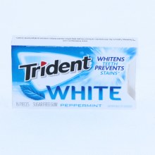 Trident White Peppermint Gum, Sugar Free, Whitens Teeth Prevents Stains   16 pc