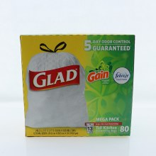 Glad Tall Kitchen Drawstring Bags  Mega Pack  Gain Original Scent  5 Day Odor Control Guaranteed  Fills Up To 13 Gallons   80 ct