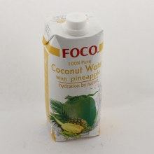 Foco Coconut Water with Pineapple, 100% Pure, 0% Fat, No Cholesterol & No Sugar Added 16.9 oz